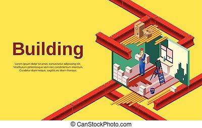 costruzione, casa, sezione, croce, illustrazione, vettore