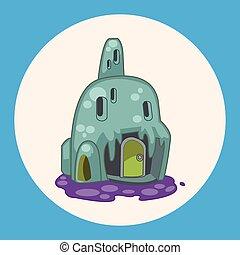 costruzione, casa, tema, disegni elementi