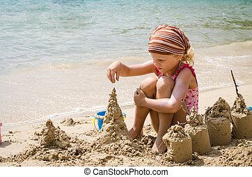 costruzione, castelli, ragazza, sabbia