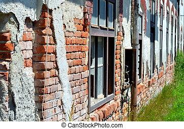 costruzione, ceco, facciata, repubblica, abbandonato