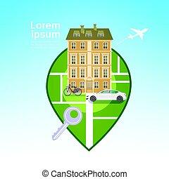 costruzione, città, concetto, perno, automobile, viaggiare, casa, vista, gps