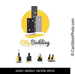 costruzione, città, disegno, logotipo, icona