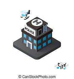 costruzione, città, isometrico, polizia, illustrazione, infographic, vettore, icona, stazione, elemento