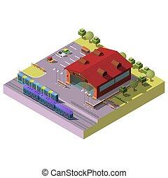 costruzione, città, isometrico, vettore, stazione, ferrovia