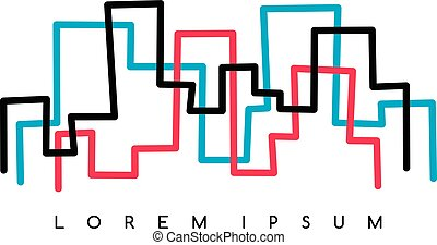costruzione, città, logotipo, logotype, contorno