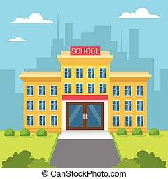 costruzione, città, scuola, vista esteriore