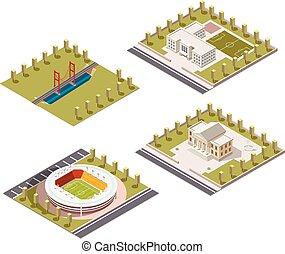 costruzione, città, set., icone