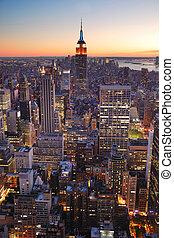 costruzione, città, stato, york, nuovo, impero, manhattan