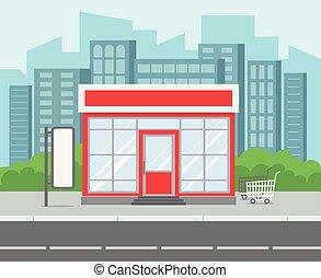 costruzione, città, supermercato, shopping, esterno, shop., casa, strada, supermercato, vettore, retro, strada., vendita dettaglio, cartone animato, strada