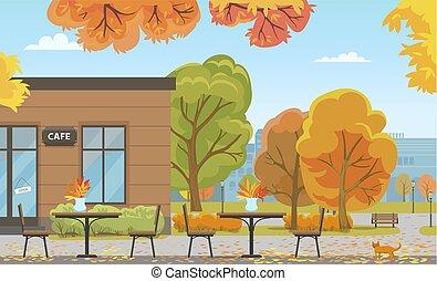 costruzione, città, tavoli, parco, autunno, caffè