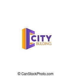 costruzione, città, vettore, icona