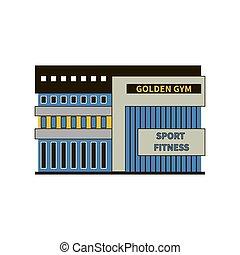 costruzione, club, palestra, moderno, sport, facciata, o