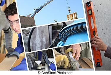 costruzione, collage, con, closeup, dettagli, di, carpenteria