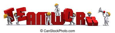 costruzione, concept., lavoro squadra, affari