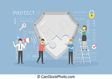 costruzione, concept., protezione
