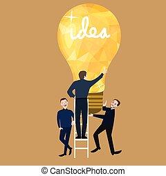 costruzione, concetto, lavorativo, successo, luce, fare, idee, insieme, affari, lavoro squadra, squadra, bulbo