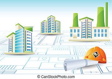 costruzione, copia blu