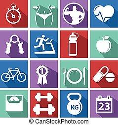 costruzione corpo, addestramento, allenamento, persone, atletico, palestra, pictogram, palestra, segno, sano, uomo, simbolo, esercizio, icona