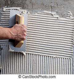 costruzione, dentellato, cazzuola, con, bianco, cemento