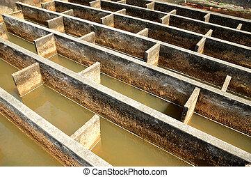 costruzione, di, drenaggio, acqua, filtrazione