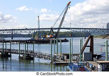 costruzione, di, uno, nuovo, bridge.