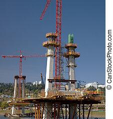 costruzione, di, uno, nuovo, ponte, portland, or.