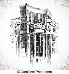 costruzione, disegnato, mano, città