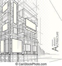 costruzione, disegno astratto, architettonico