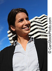 costruzione, donna d'affari, esterno, stato piedi