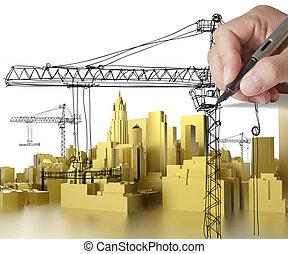 costruzione, dorato, concetto, sviluppo