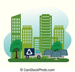 costruzione, ecologia, energia, camion, solare, biofuels