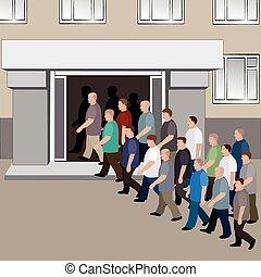 costruzione, entrare, uomini, folla, porte