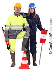 costruzione, equipaggio, con, attrezzi, e, avvertimento firma