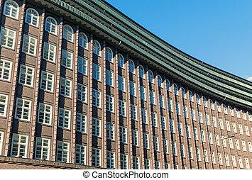 costruzione, facciata, storico, Amburgo