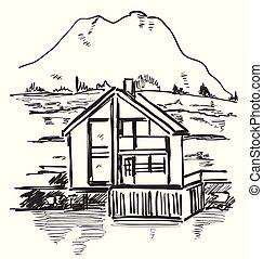costruzione, fattoria, schizzo, mountain., paesaggio