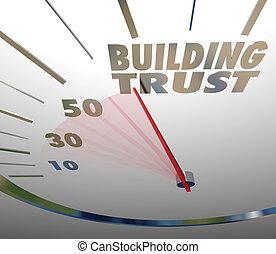costruzione, fede, lealtà, cliente, reputazione, fiducia, tachimetro