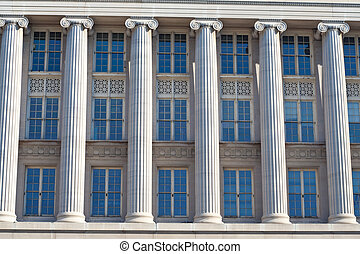 costruzione, federale, windows, washington dc, colonne