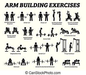 costruzione, figura, pictograms., bastone, esercizi, muscolo, braccio