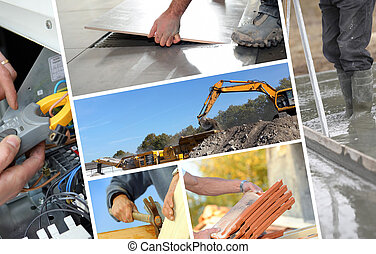costruzione, fotomontaggio