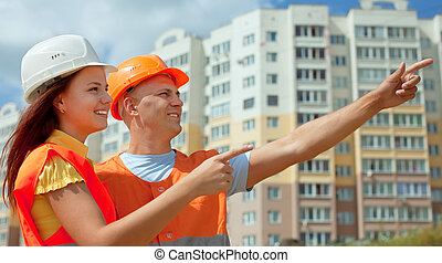 costruzione, fronte, due, architetti, luogo