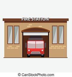costruzione, fuoco, automobile, stazione, camion, garrage