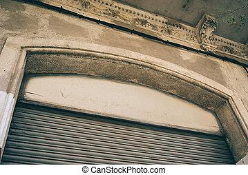 costruzione, garage, parte, posto, facciata, persiane