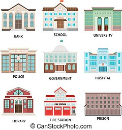 costruzione, governo, colorato, icone