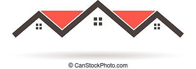 costruzione, grafico, illustrazione, case, vettore, tetto, logo., rosso