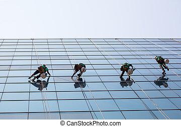 costruzione, gruppo, servizio, windows, lavorante, alzarsi, alto, pulizia