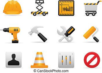 costruzione, icona, set