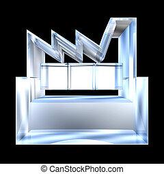 costruzione, icona, -, vetro, fondo, bianco, fabbricante, 3d