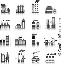 costruzione, industriale, icone