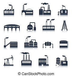 costruzione, industriale, nero, icone