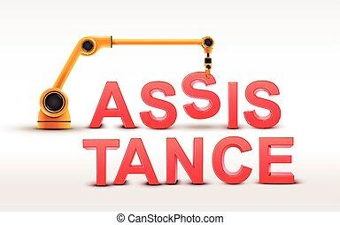 costruzione, industriale, parola, assistenza, braccio robotizzato
